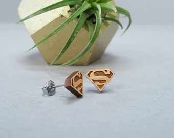 Superman Post Earrings - Laser Engraved Wood Earrings - Hypoallergenic Titanium Post Earring Pair