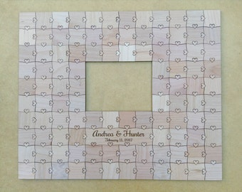 100 pieces Custom Frame Wedding Guest Book Puzzle with Heart Tabs