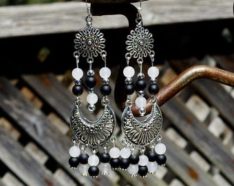 Onyx and Jade Statement Chandelier Earrings ~ Semi Precious Stones ~ Gala Evening ~ Elegant Gift ~ Classic Black and White ~ Mother's Day