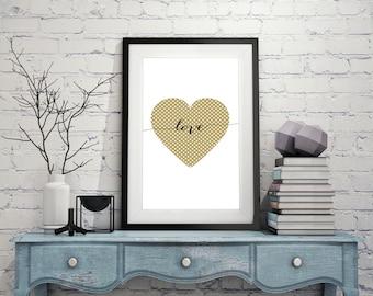 Love Heart Poster Print, Printable Art, Typographic Art, Poster Art, Printable Wall Poster, Scandinavian Print