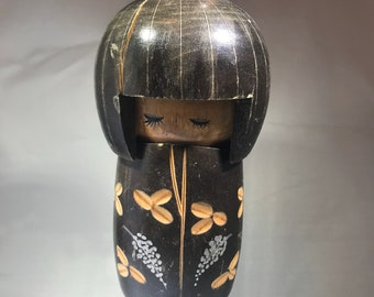 Vintage kokeshi japanese wooden doll with some damage- good for repurpose