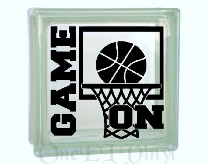 Game ON with Basketball Hoop and Ball. DIY Glass Block and other projects. Gift for Basketball Player,  Block Not Included