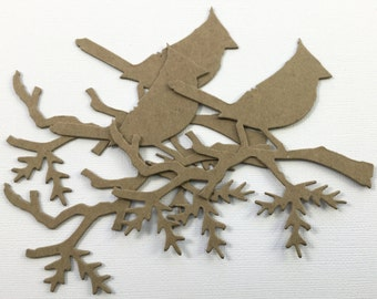 Christmas Cardinal Bird Chipboard Die Cuts - Bare Alterable Embellishments