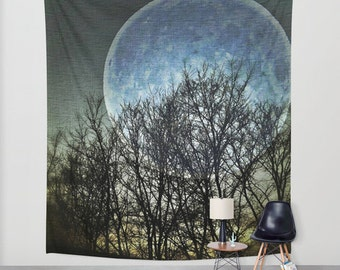 Blue Moon Wall Tapestry, Goth Large Size Wall Art, Modern Decor, Full Moon Tapestry, Outdoor, Garden, Night Sky Tapestry, Dorm Art, Surreal