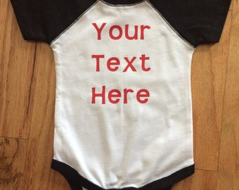 Custom Raglan Baby Bodysuit; You Design a Baby Bodysuit; Personalized Baby Bodysuit; Baptism Gift; Unique Baby Bodysuit That You Create