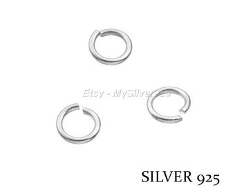 4x0.7mm - 10, 100 or 500 925 sterling silver open jump rings - discount