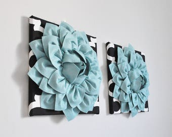 Quatrefoil Black Print with Dusty Blue Dahlias Set of TWO Wall Art Bedroom or Bathroom Decor Stormy Day Nautical
