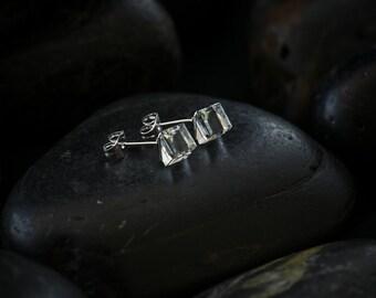 Large Crystal Cube earrings. Swarovski Crystal set in a Rhodium finish