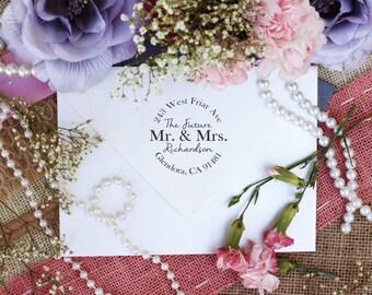 Self Inking, Clear Block, Wood Mount, Custom Return Address Stamp, Engagement, Future Mr. & Mrs. Wedding RSVP Invite --10205-PI53-000