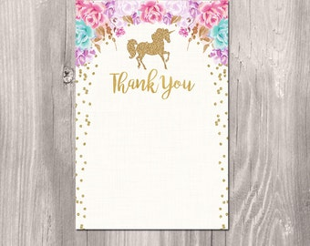 Unicorn Thank you card, INSTANT DOWNLOAD, Unicorn Thank you Note, unicorn instant download thank you card, printable, digital file