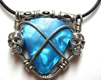 Handmade Guitar Pick Holder Necklace with Skulls