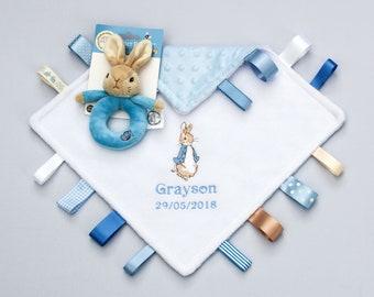 Personalised Peter Rabbit Taggy Comforter Taggies Keepsake Baby Boy Baby Shower Christening Gift Newborn Minky Blankie Plush Ring Rattle