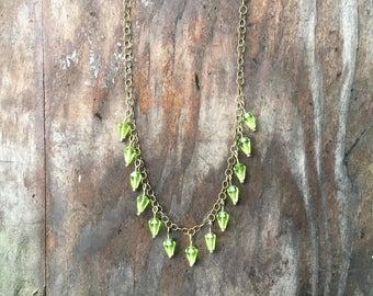 Green Bead Drop Necklace