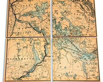 Lake Winnipesaukee Map Coasters_Personalized Map_Tile Coaster Set_Custom Travel Gift_Hostess Gift_Wedding Favor_gift for him_Lakehouse decor