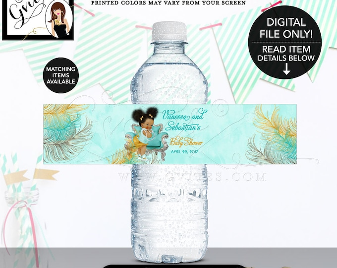 """Water Bottle Labels Turquoise Gold & Silver African American baby girl baby shower, bows diamonds pearls. {8x2""""/5 Per Sheet} Gvites"""