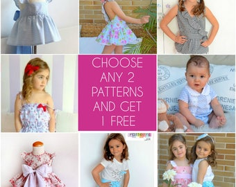 Choose any 2  PDF Sewing PATTERNS and get 1 FREE!! Buy 2 patterns and get 1 free pattern of your choice. Read instructions in the listing