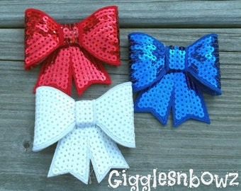 4th of JuLY- 3 inch SEQUIN BOW Appliques- red, white, royal blue