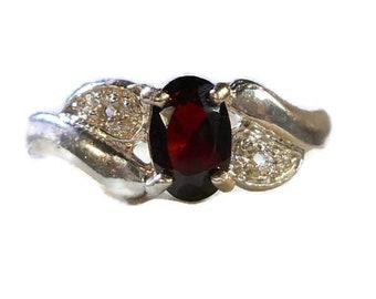 Dark Garnet Stone Sterling Silver Ring|Dark Garnet Sterling Ring|Dark Stone Garnet Sterling Silver Ring|Garnet Stone Rings|Dark Garnet Ring