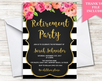 Retirement Party Invitation Invite Womens Warertcolor Stripes Floral Gold Flowers Digital Personalized 5x7
