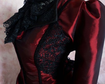 ATELIER COCON 4-pc.Brotherday Victorian Western WGT dress taffeta burgundy ** train and overskirt adjustable **