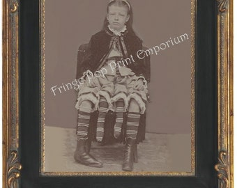 Victorian Sideshow Circus Freak Art Print 8 x 10 - Myrtle Corbin - Four Legged Girl from Texas