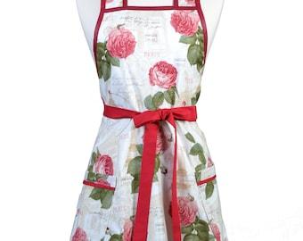 Womens Vintage Apron - Romantic Paris and Roses Apron - Cute Retro 50s Style Kitchen Apron - Over the Head Apron - Monogram Option