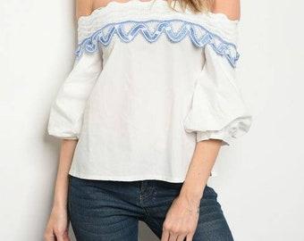 Short sleeve off the shoulder poplin blouseLarge