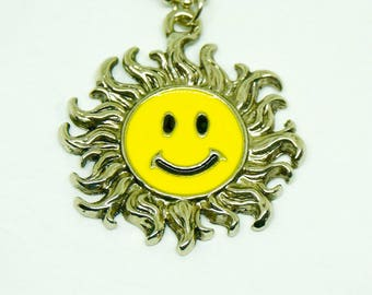 Vintage smiley face necklace etsy smiley face necklace enamel bath tub chain yellow and silver color pendant is approx 15 chain has 13 11drop free shipping aloadofball Choice Image