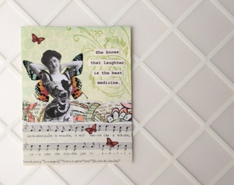 Get Well Card - Laughter is the Best Medicine - Handmade Greeting Card - vintage inspired - friendship, caring, humor, encouragement