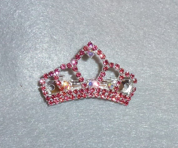 Puppy Bows ~ PINK TIARA rhinestones dog bow  pet hair clip topknot barrette
