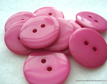25 Deep Pink Buttons, 23mm Deep Pink Resin Buttons, Pack of 25 Deep Pink Buttons, 8p Each!! A110