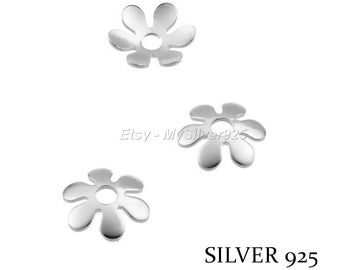 9mm - 2 or 10 flowers bead caps - Silver 925 bead caps