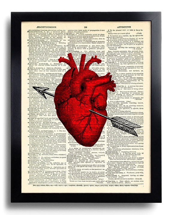 Heart Anatomy Love Anatomical Heart Art Print on Dictionary
