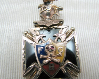 Vintage Enameled Knights of Pythias Charm/ Pendant/ Fob in 10k Yellow Gold