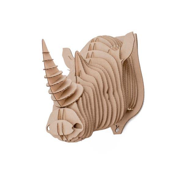 Edward trophée de tête de mur carton rhino rhinocéros 3D