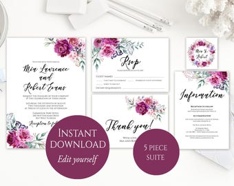 Wedding Invitation Template, Purple Wedding Invitation, Wedding Invitation Printable, Wedding Invitation Suite, Instant Download, Purple, C4