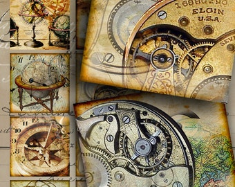 Printable download BEYOND TIME Digital Collage Sheet 2x2 inch size steampunk Images for magnets greeting cards pendants paper scrapbooking