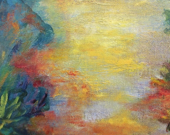 Twilight - Point of view #1, original art, landscape, acrylic, semi-abstrait, 6 3/8 x 11 1/8 in. (16 x 28.5 cm), landscape, acrylic.