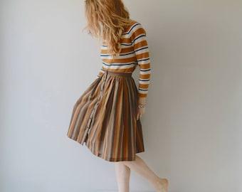1950s Ceramics Striped Bobbie Brooks Skirt / Vintage 50s Neutral Stripes Skirt / 26 Inch Waist / XS / Small