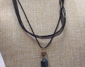 Black glitter glass vial necklace jewelry