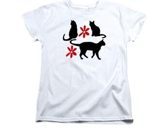 Cat T-shirt, Feminine Folk Art Design, Back To School, Feline Silhouettes, Black and White, Red Flowers, Folk Art, Ladies Clothing