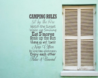 Camping rules, Eat Smores, Sunset, Sit by the Fire, Vinyl, Home Decor, Subway art Lettering, Words Quotes, Decals, Art, Custom