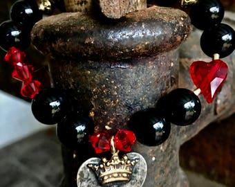 Crown with heart-velvety black jade with sparkling rhinestones-100% handmade-single piece