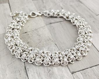 Sterling Silver Bracelet - Fine Jewelry - Sterling Silver - Silver Chain Mail Bracelet - Sterling Silver Chainmail - Chain Bracelet