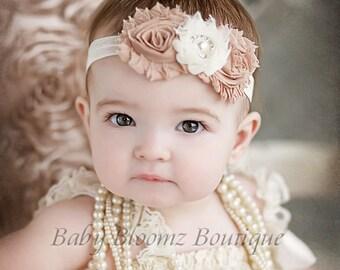 Baby Headband Ivory Beige Vintage Headband Shabby Headband Baby Bows girl Headband Hair bow Flower Headband Newborn Headband