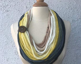 Knitted Womens Scarf Neckwarmer Neclace Light and Simple Soft White Yellow Gray Windsor Blue and Soft Navy Blue