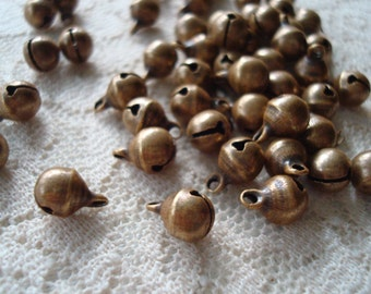 Sale! 144 Tiny Brass Bells. Bronze Finish. 6mm Wide x 8mm Long.  Little Brass Bells For Anklets, Bracelets and Tibetan Style Jewelry Design