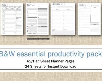 Productivity Planner Pages Half Page/A5, Printable Pack including: Project Planner To Do Lists, Goal, Idea & Password Lists INSTANT DOWNLOAD
