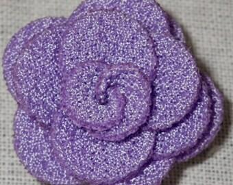 Bouton pression fleur en tissu mauve