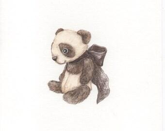 Nursery Wall art, Nursery decor, Kids decor, Children's Wall art ,original pencil Drawing OOAK teddy bear panda Toga